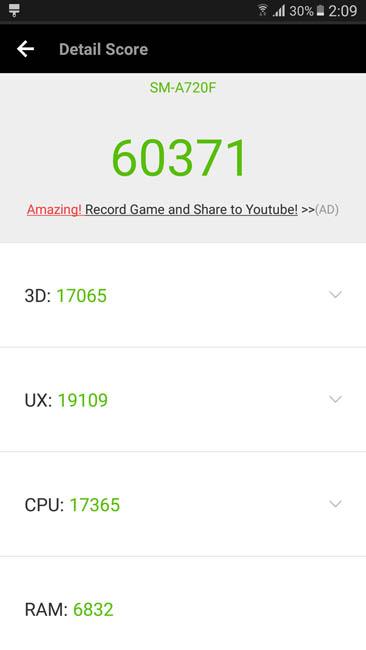 Тест производительности Samsung Galaxy A7 (2017) в AnTuTu
