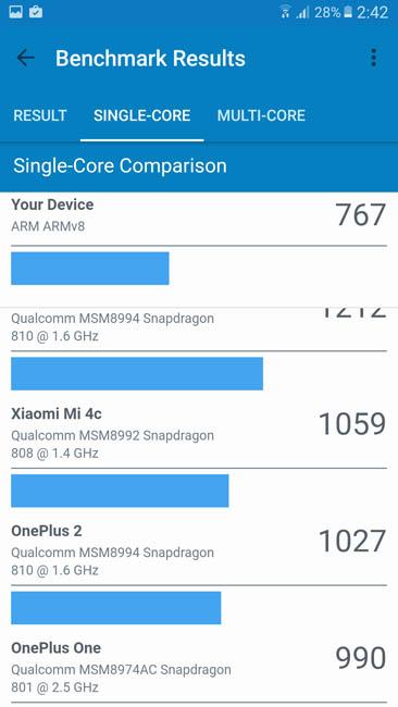 Одноядерный тест Samsung Galaxy A7 (2017) в Geekbench 4