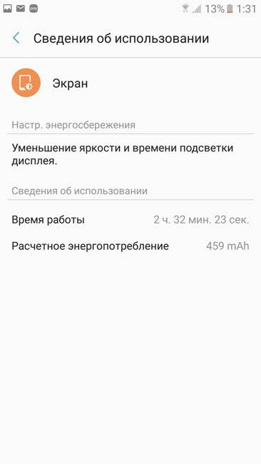 Время работы экрана при умеренном использовании смартфона - свыше 2 дней