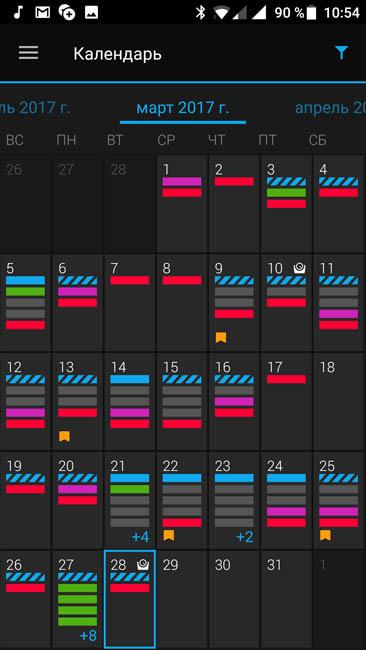 Календарь активностей - что делал по дням за месяц