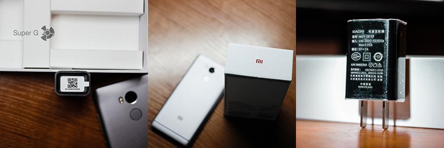 Коробка, зарядник и лицензионный код для проверки на подлинность у Redmi 4 Prime
