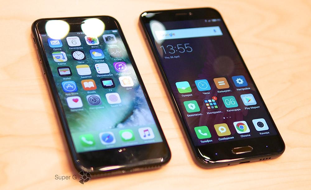 Сравнение Xiaomi Mi 5C (справа) с iPhone 7 (слева)