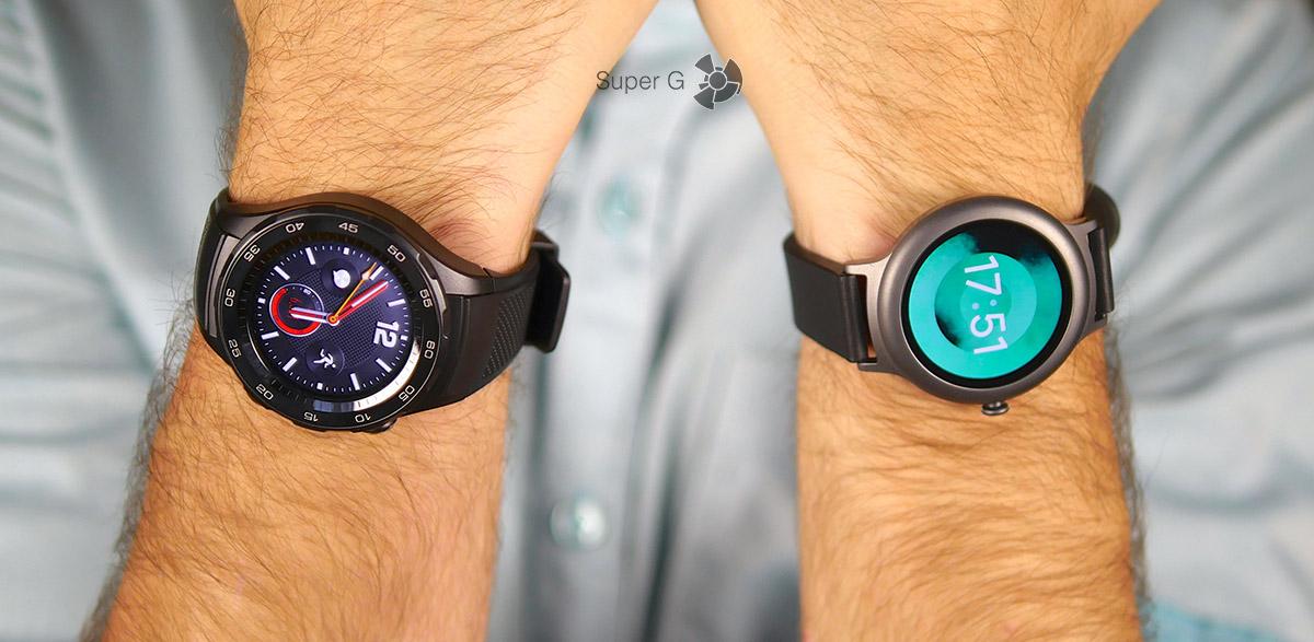 Сравнение Huawei Watch 2 (слева) и LG Watch Style (справа) - двое умных часов на Android Wear 2.0