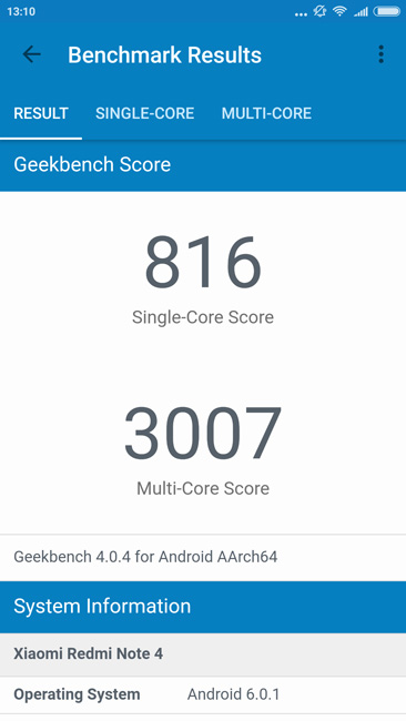 Общий результат Geekbench Xiaomi Redmi Note 4X