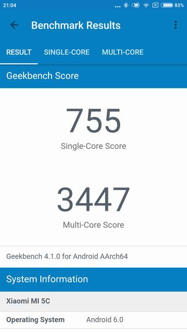 Тест производительности Xiaomi Mi 5C в Geekbench 4