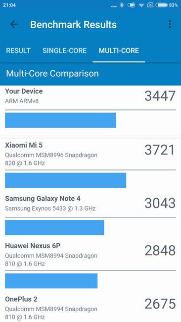 Многоядерный тест производительности Xiaomi Mi 5C в Geekbench 4