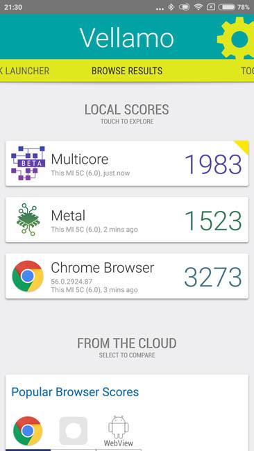 Тест производительности Xiaomi Mi 5C в Vellamo
