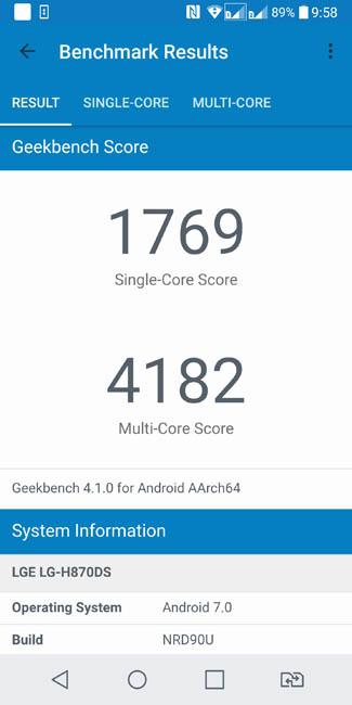 Тест производительности LG G6 в Geekbench 4