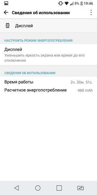 Время работы экрана LG G6