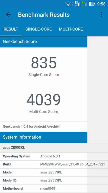 Тест производительности Asus ZenFone 3 Zoom в Geekbench 4