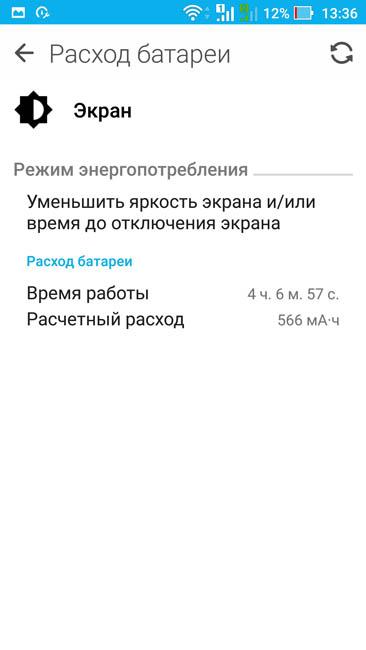 Расход энергии аккумулятора дисплеем Asus ZenFone 3 Zoom