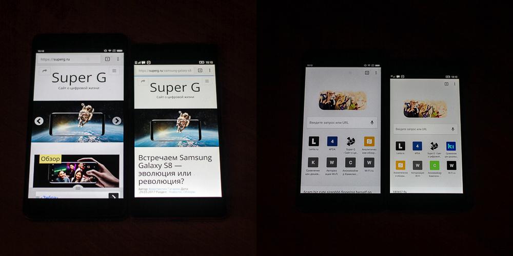 Сравнение дисплев Xiaomi Redmi Note 4X и Lenovo Vibe X2