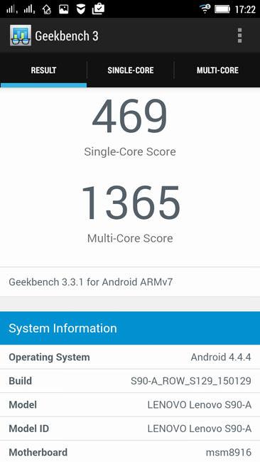 Geekbench 3 и Lenovo S90