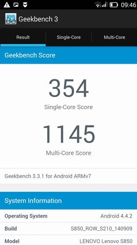 Geekbench 3 Lenovo S850