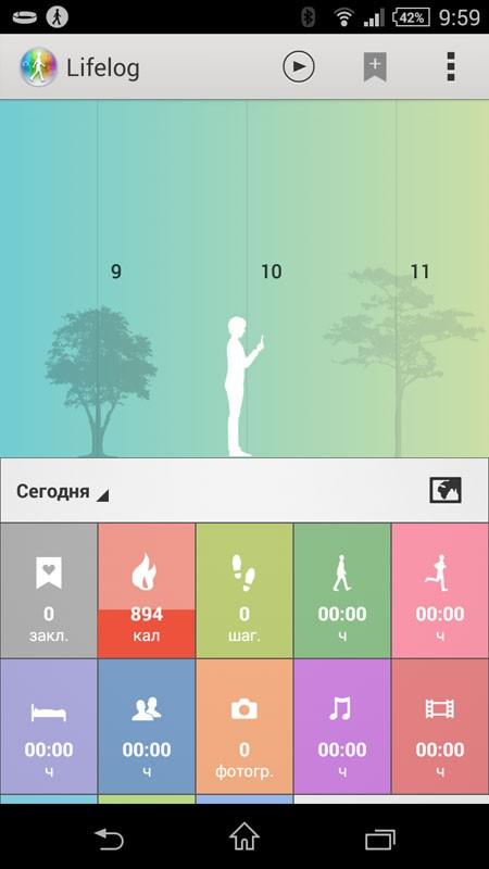 Lifelog (главный экран)
