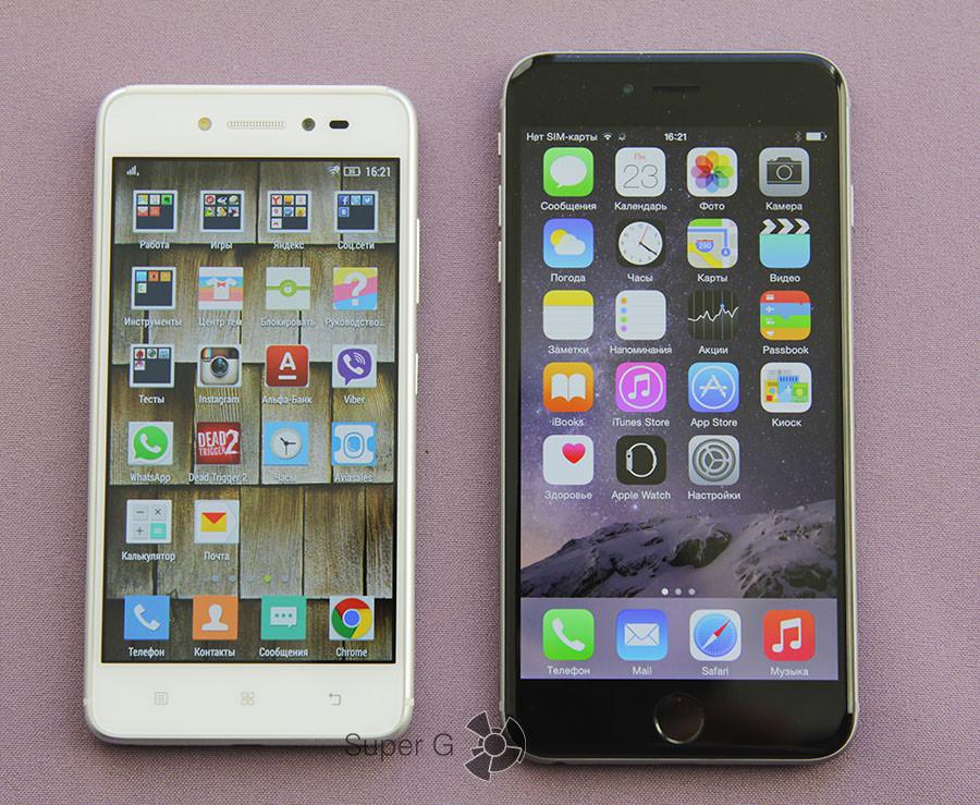 Lenovo S90 и iPhone 6 Plus