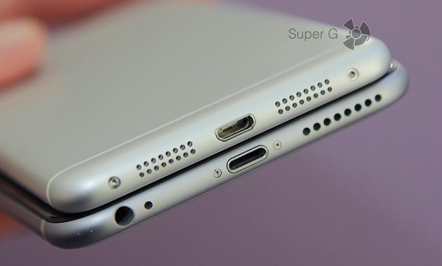 Lenovo S90 и iPhone 6 Plus нижняя часть